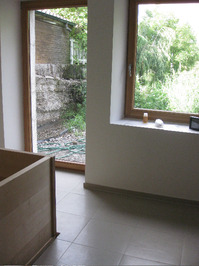 wood tub and window